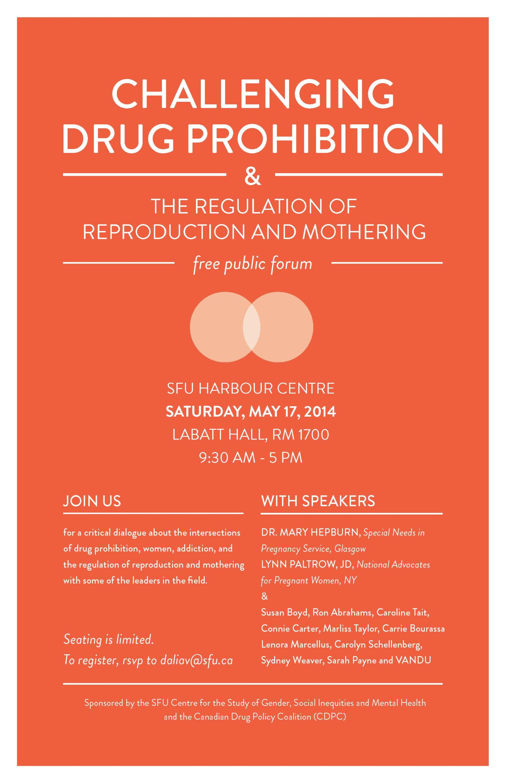 """Lynn Paltrow spoke at Vancouver, Canada """"Challenging Drug Prohibition"""" Event 5/17"""
