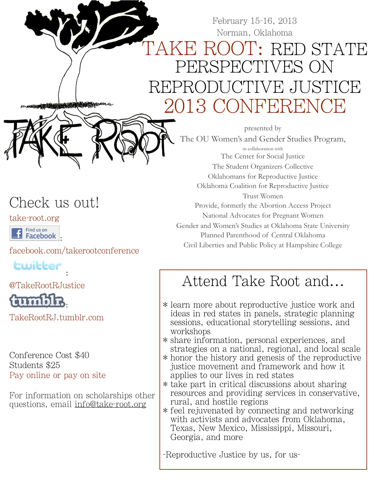 NAPW supports, attends, and speaks at 3rd Annual Take Root: Red State Perspectives on Reproductive Justice Conference in Oklahoma