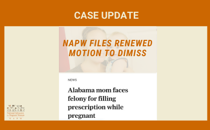 CASE UPDATE: NAPW Files Renewed Motion to Dismiss in Lauderdale County, AL Based on Unprecedented and Unconstitutional Theory Regarding Pregnancy, Chronic Pain, and Prescription Drug Use